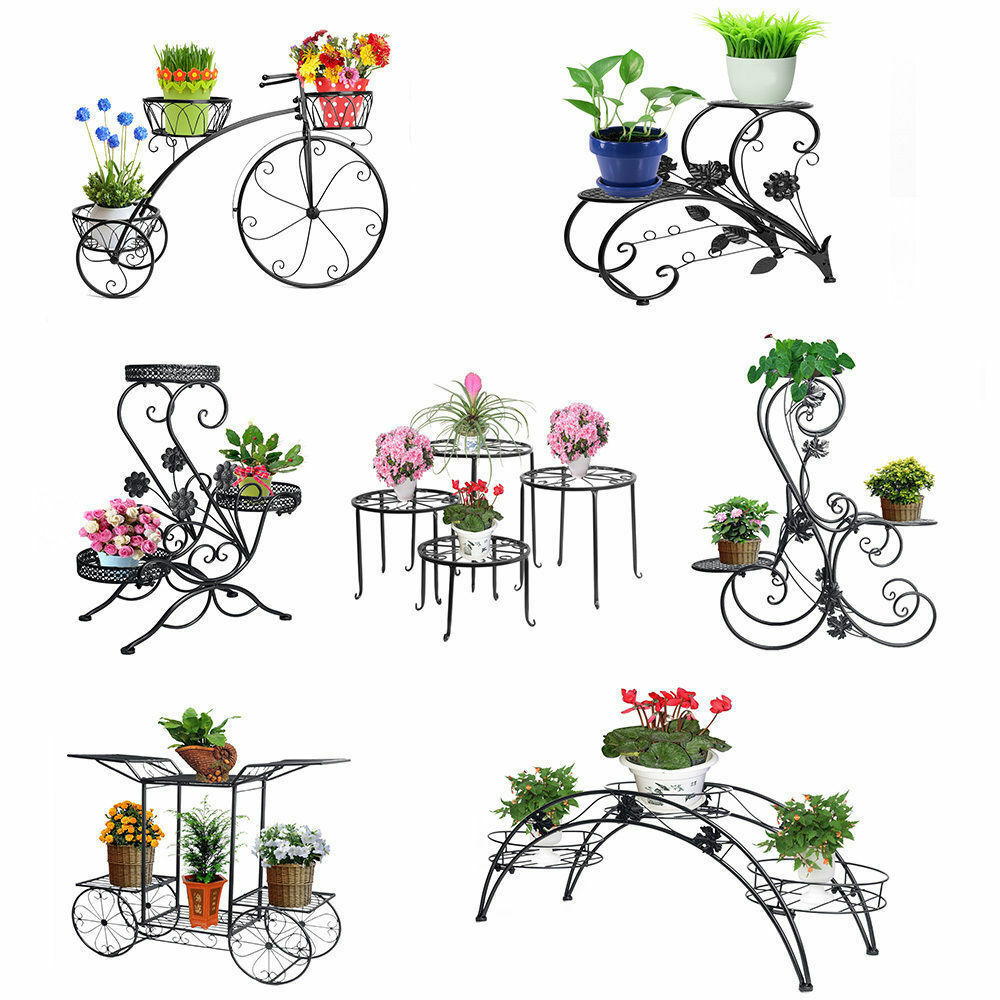 Metal outdoor indoor pot plant stand garden decor flower for Flower garden decorations