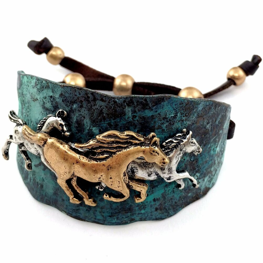 Western Gold Silver Hammered Plate Horses Black Leather Cuff Patina Bracelet Ebay