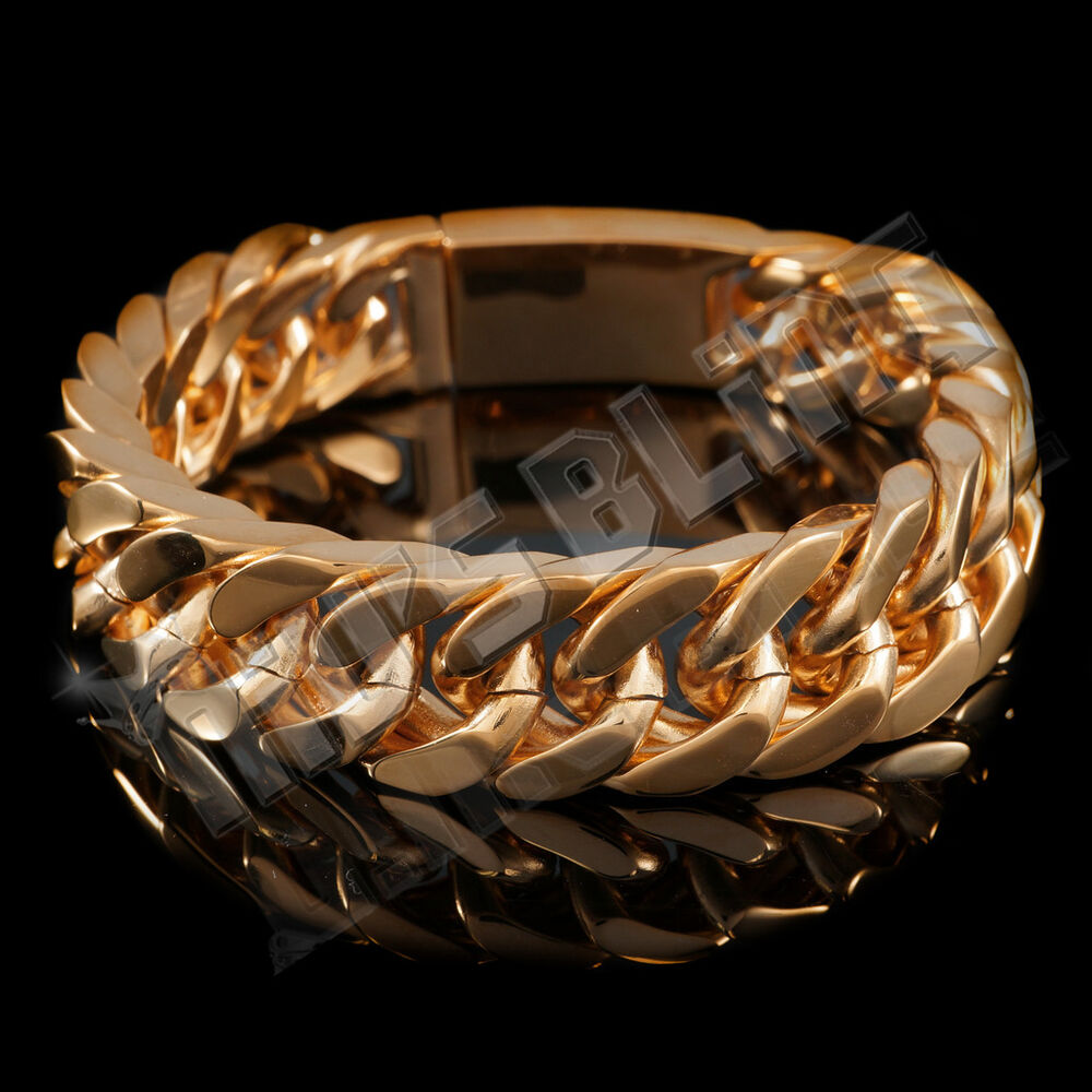 18k Rose Gold Plated Cuban Miami Chain Link Stainless