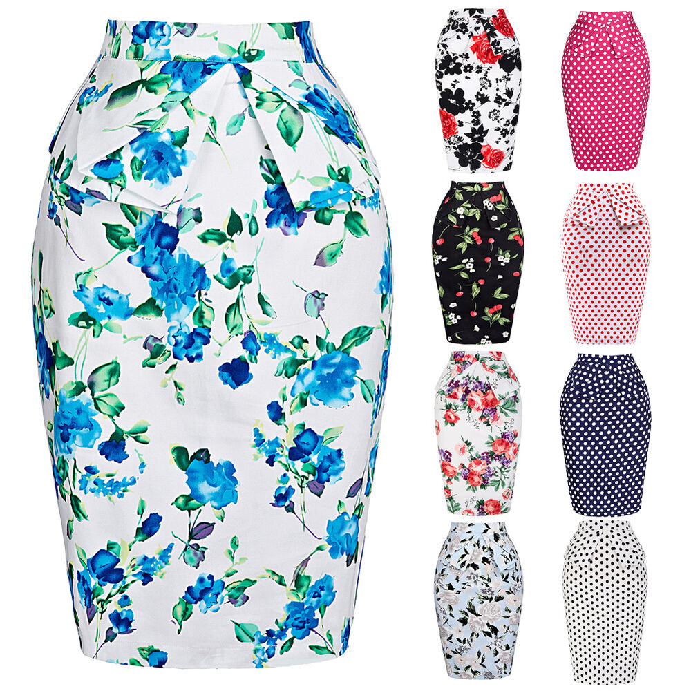 vintage style 50s floral bodycon skirt high waisted