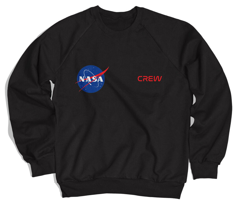 NASA Crew Unisex Sweatshirt All Sizes Black Grey White | eBay