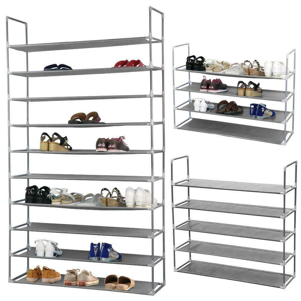 10 Tier 50 Pairs Shoe Rack Storage Organizer Tower Free