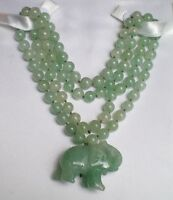 Old Chinese Light Green Jade Jadeite Carved Elephant Pendant Beaded Necklace 31""