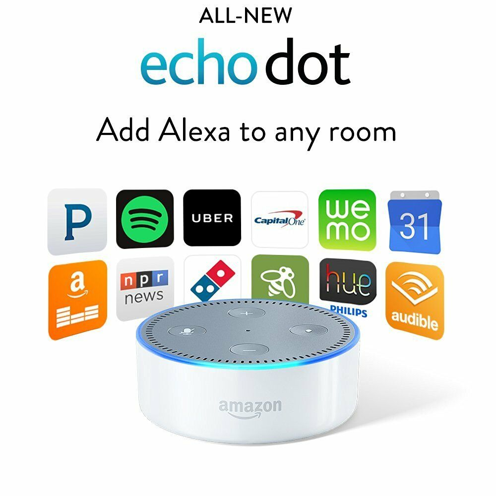 white amazon echo dot 2nd generation alexa voice media. Black Bedroom Furniture Sets. Home Design Ideas