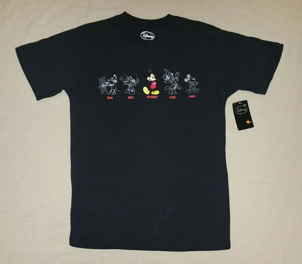 disney vintage mickey mouse through the years adult men 39 s black tee shirt nwt ebay. Black Bedroom Furniture Sets. Home Design Ideas