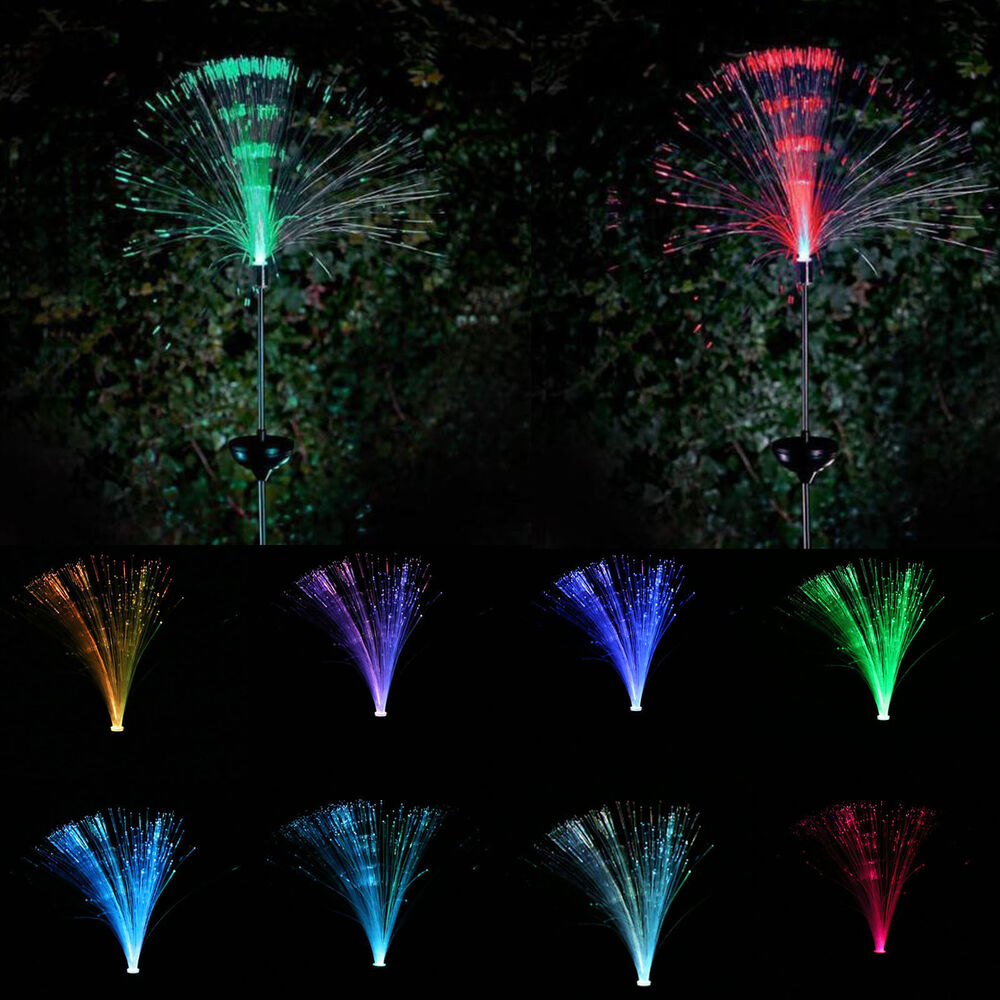 Led solar powered lamps fiber optic multicolor garden for Garden lights