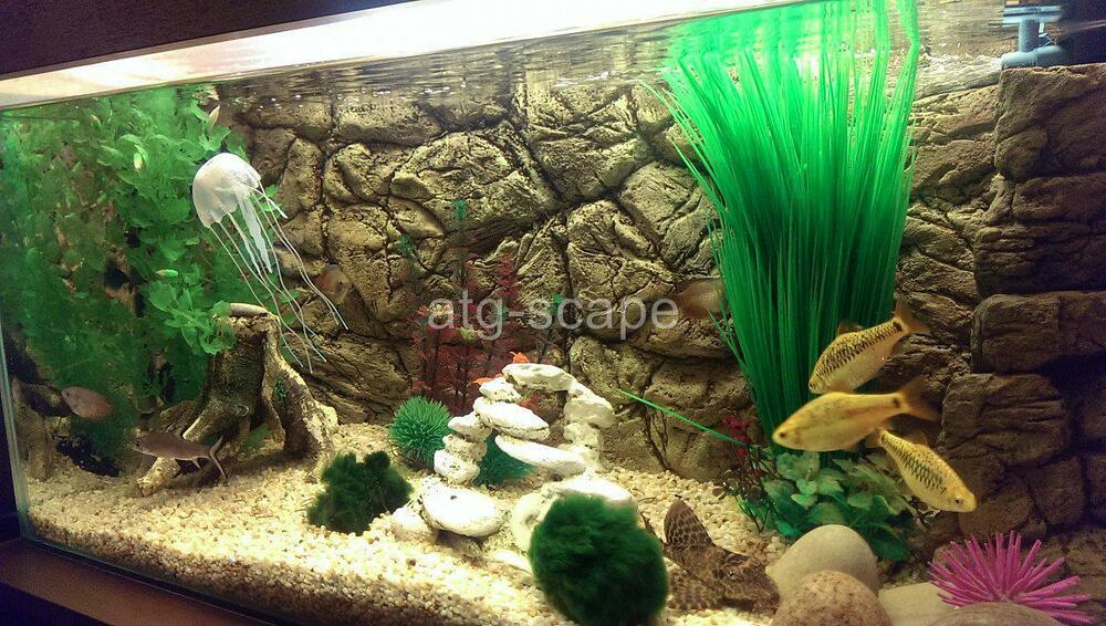 Aquarium background 3d thin beige for 55 75g tank size for Thin fish tank