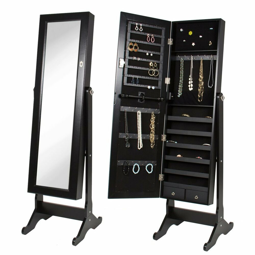 New Full Length Mirror Jewelry Storage Armoire Tilting