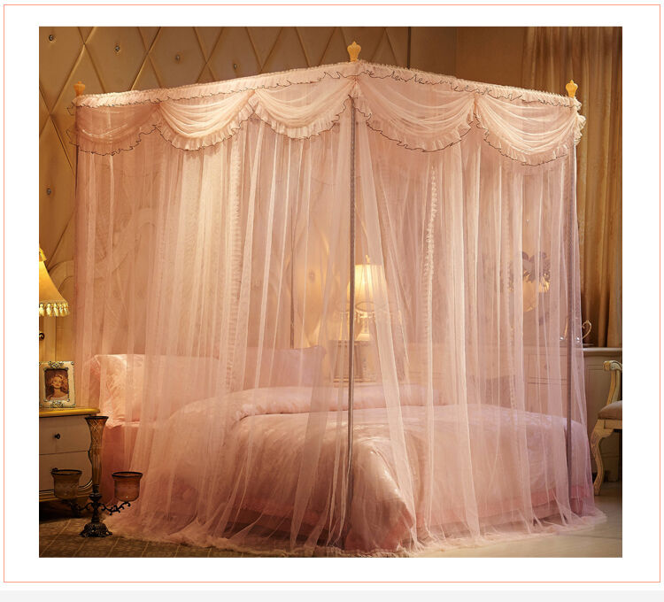 Princess style mosquito net bed curtain valance bed - Black canopy bed curtains ...
