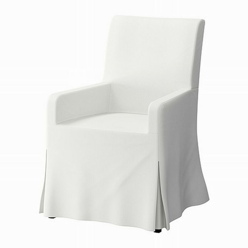 ikea henriksdal chair w armrests slipcover cover skirted blekinge white long ebay. Black Bedroom Furniture Sets. Home Design Ideas