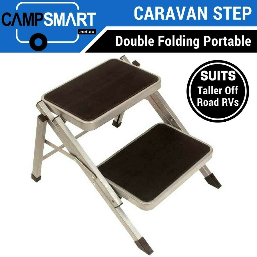 Double Folding Caravan Step Portable Amp Compact For Camper