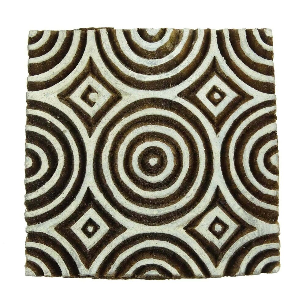 Wooden decorative geometric pattern textile block hand