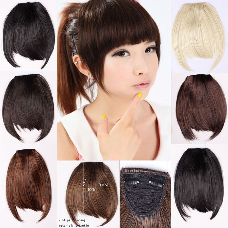 clip in bangs fake hair extension false hair piece clip on front neat bang lk ebay. Black Bedroom Furniture Sets. Home Design Ideas