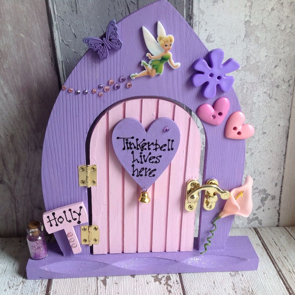 Personalised handmade wooden freestanding opening fairy for Tinkerbell fairy door