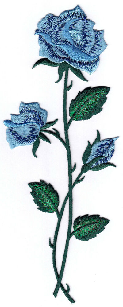 Blue rose flower embroidery iron on applique patch