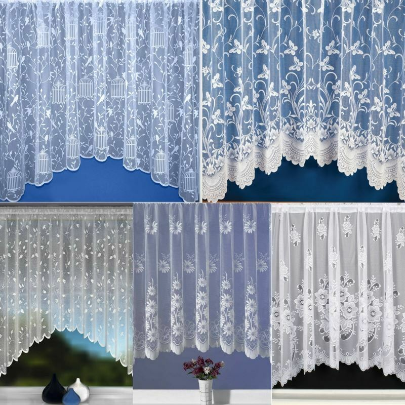 LUXURY NET CURTAIN JARDINIERE READY MADE WHITE LACE ...