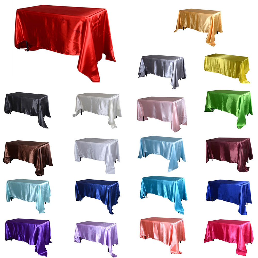Tulleshop 60 x 102 inch rectangular satin tablecloth for 102 inch table runners