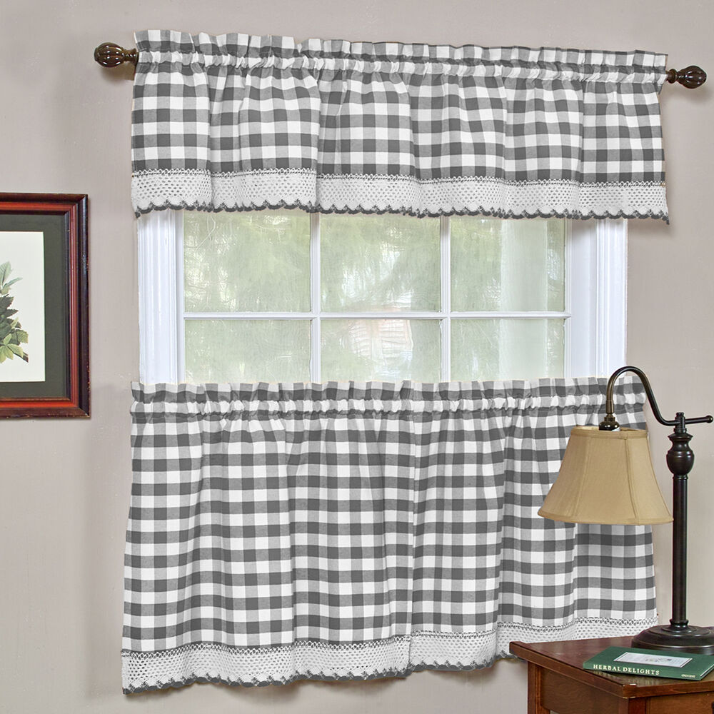 Buffalo Check Gingham Kitchen Curtains Tiers Or Valance