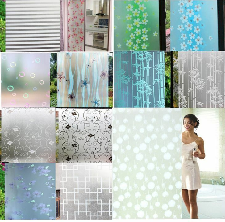 45x200cm Frosted Cover Glass Window Floral Flower Sticker