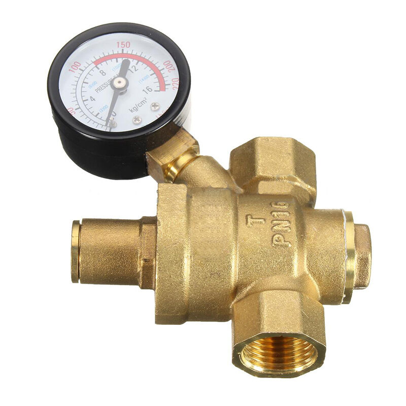 dn15 npt 1 2 39 39 adjustable water pressure regulator reducer valves w gauge meter ebay. Black Bedroom Furniture Sets. Home Design Ideas