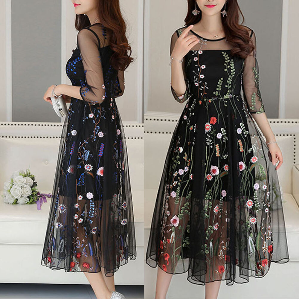 Women mesh embroidery floral evening party wedding