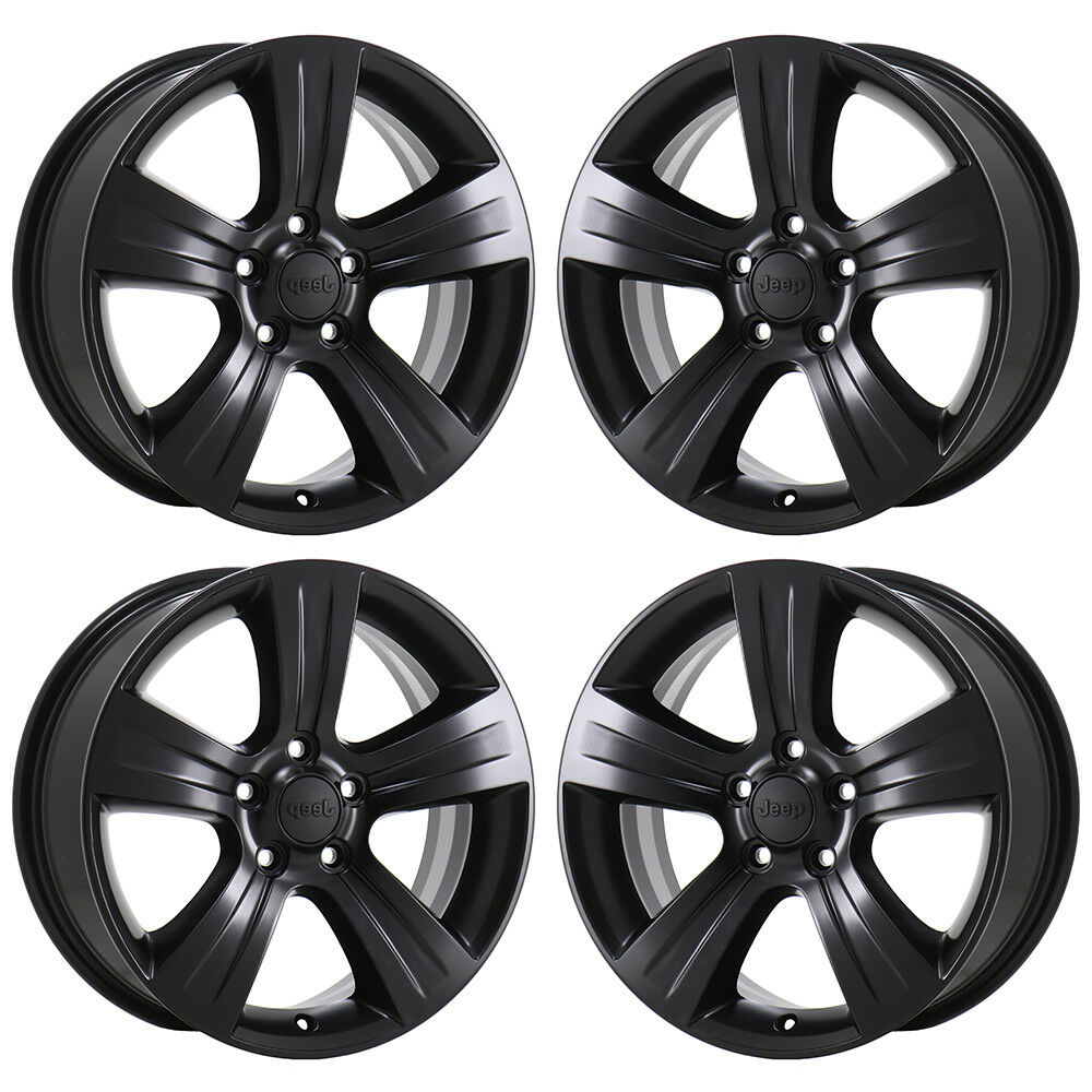 "17"" JEEP COMPASS PATRIOT BLACK WHEELS RIMS FACTORY OEM SET"