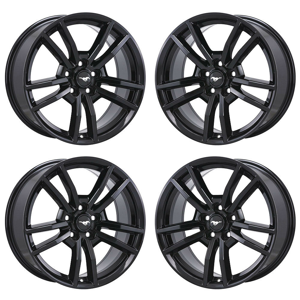 Details about 18 ford mustang black wheels factory oem 2015 2016 2017 set 4 10030 exchange