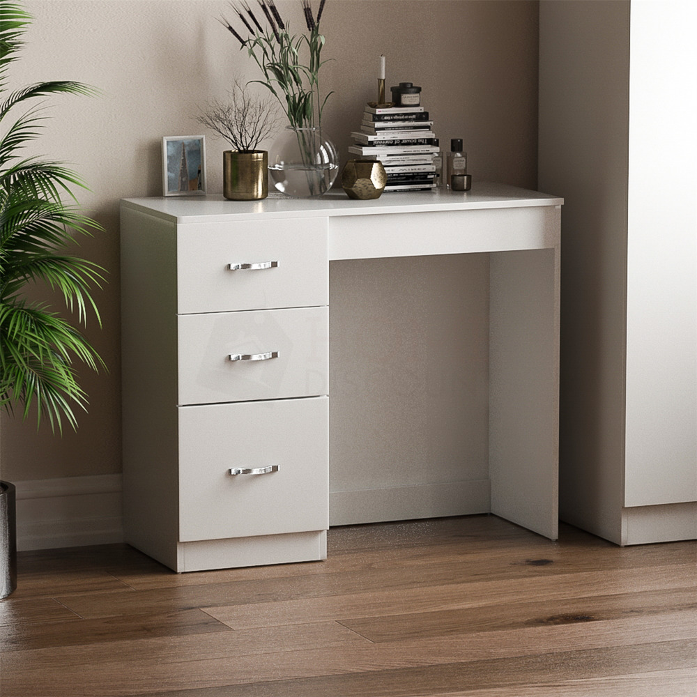riano 3 drawer dressing table white makeup desk wooden. Black Bedroom Furniture Sets. Home Design Ideas