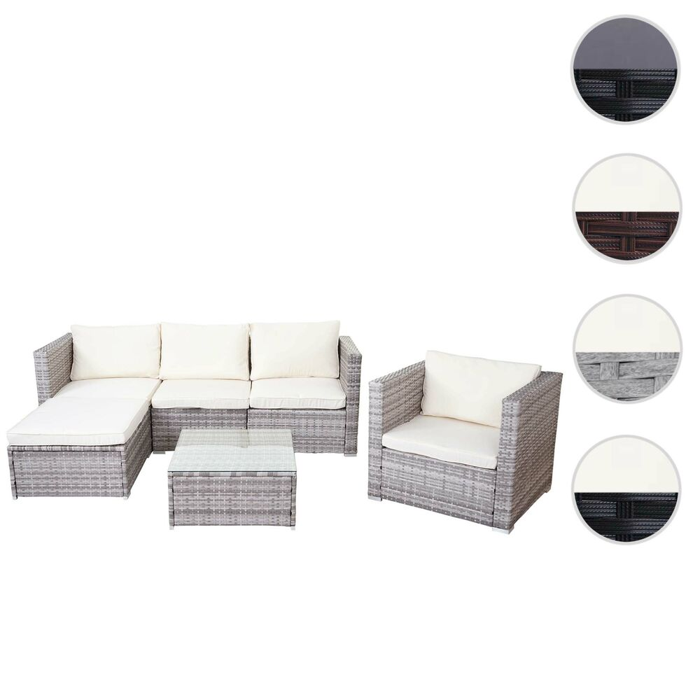 poly rattan garnitur brescia gartengarnitur sitzgruppe lounge set grau schwarz ebay. Black Bedroom Furniture Sets. Home Design Ideas