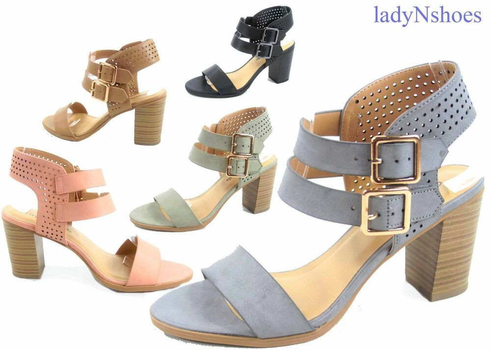 4d22154f6a9 Details about NEW Women s Summer Double Buckles Open Toe Chunky Heel Sandals  Size 5.5 - 11