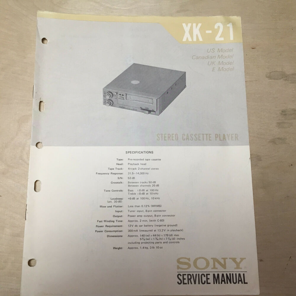 Sony Service Manual For The Xk 21 Cassette Tape Player Car Stereo Manuals Repair Ebay