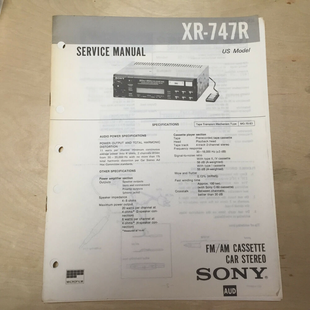 Sony Service Manual For The Xr 747r Cassette Player Radio Car Stereo Audio Repair Ebay