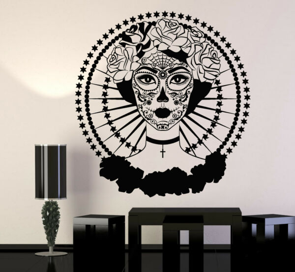 Vinyl Wall Decal Calavera Day Of The Dead Symbol Mexico Rose Stickers (1196ig)