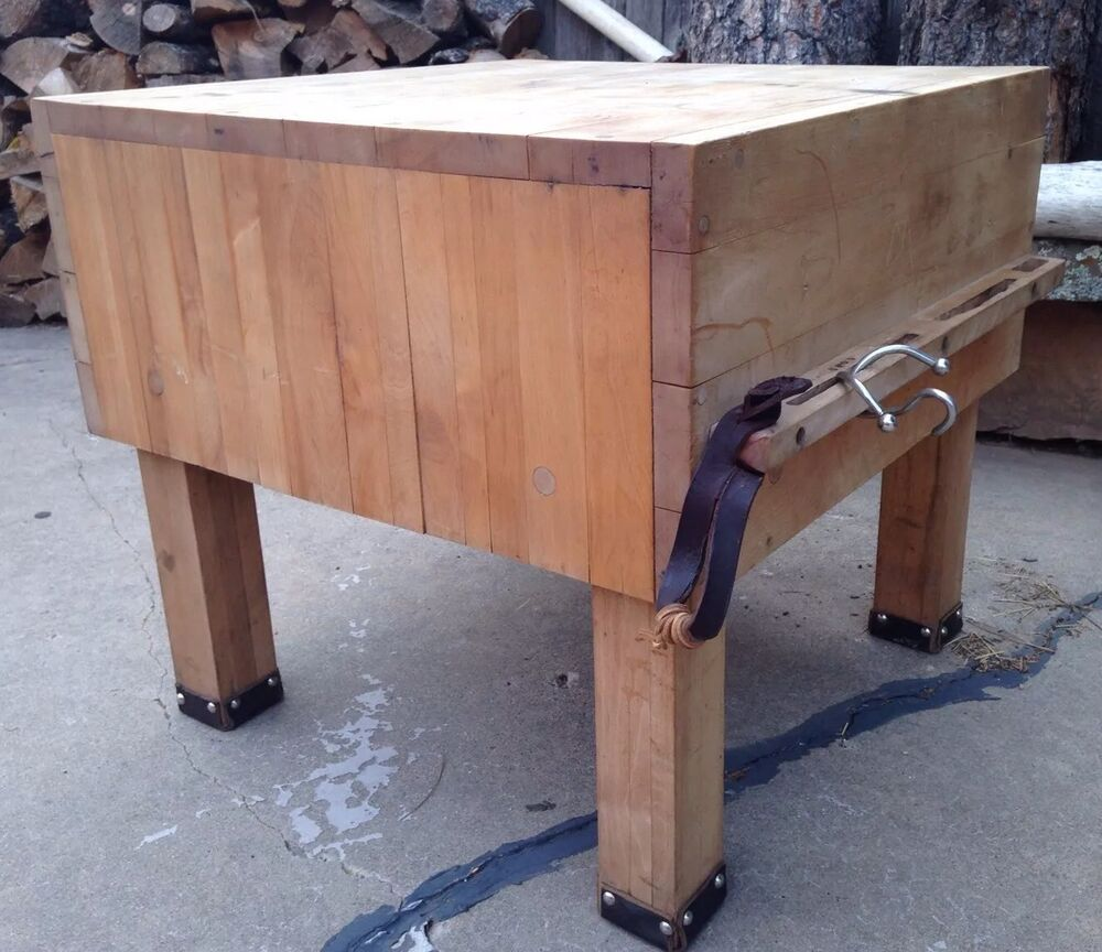 Le Gourmand Butcher Block Table BUTCHER BLOCK TABLE With Built In Knife Rack - From Ranch In TEXAS ...