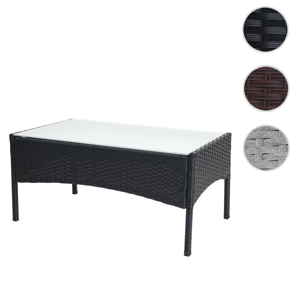 poly rattan gartentisch halden beistelltisch tisch mit glasplatte ebay. Black Bedroom Furniture Sets. Home Design Ideas