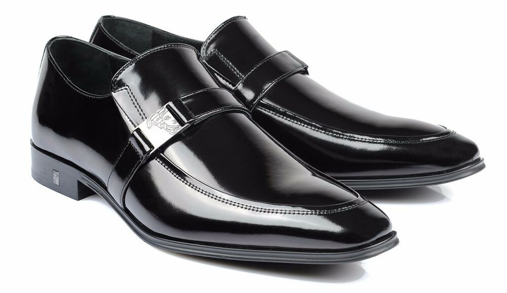 Versace Collection Black Patent Leather Dress Shoes Loafers