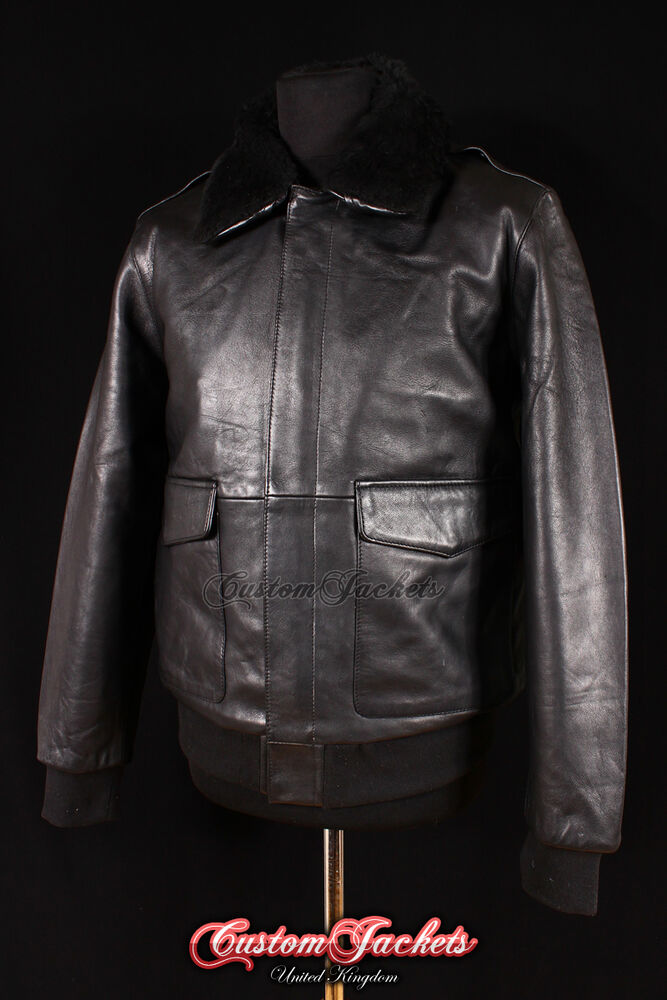 087328c2ba1 Details about Men s A2 US MILITARY Black Fur Collar Lambskin Leather Army  Bomber Pilot Jacket