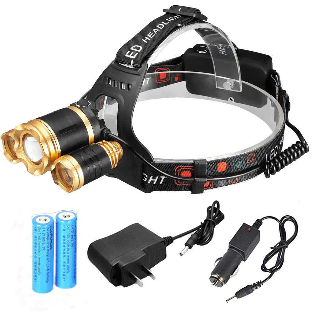 NEW 32000LM ZOOM Headlamp 3x LED Headlight Head Light ...