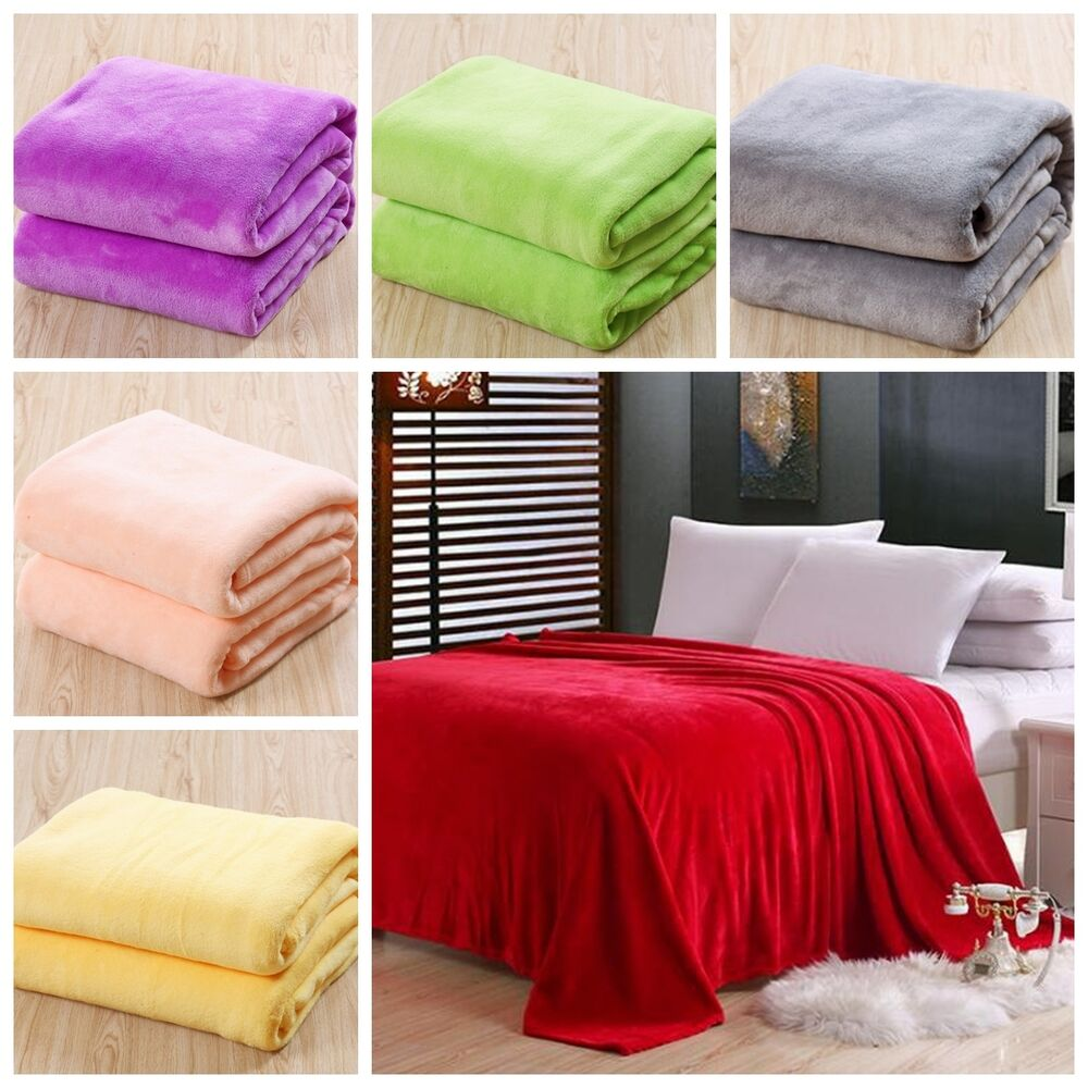 New Super Soft Luxurious Fleece Throw Blanket 3 Solid Colors Queen Size
