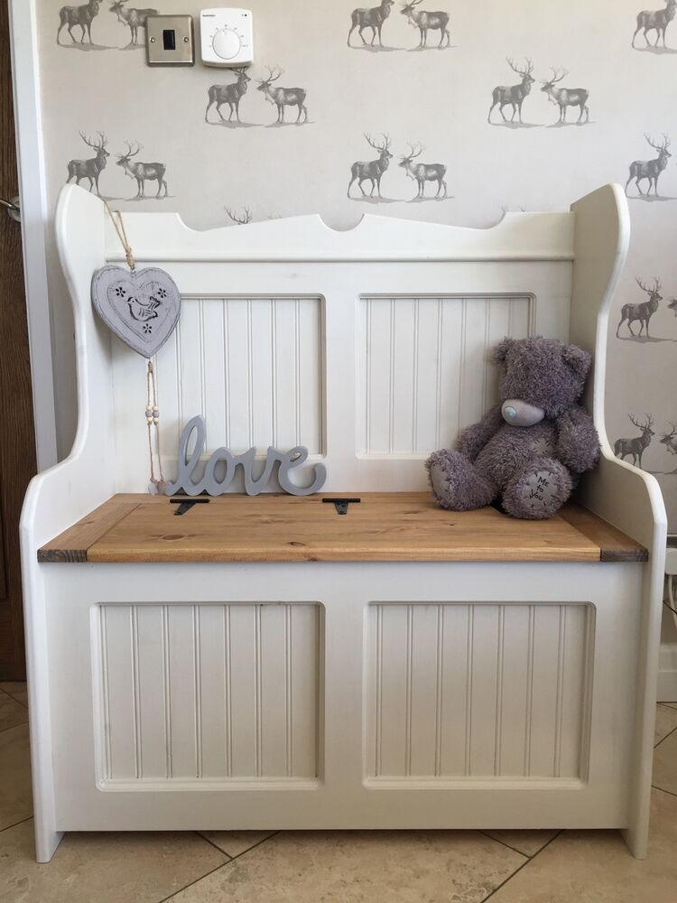 Church Pew Monks Bench Seat Blanket Box Pine Shabby Chic Storage Box Wedding Ebay