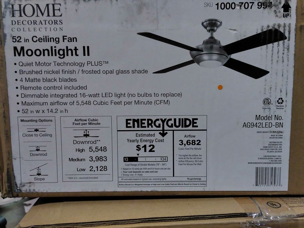 Home Decorators Collection Moonlight Ii Led 52 In Modern B Nickel Ceiling Fan 792145357933 Ebay
