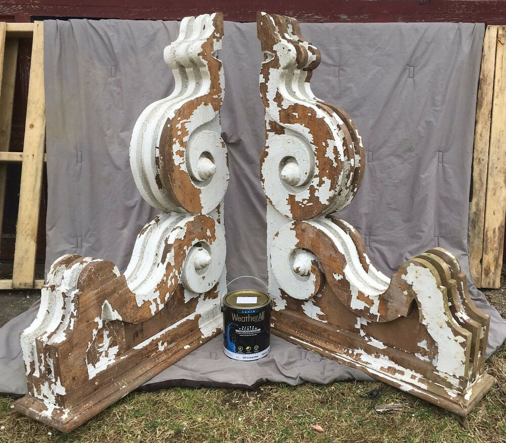 huge antique pr victorian entryway corbels brackets shabby vintage chic 218 17e ebay. Black Bedroom Furniture Sets. Home Design Ideas