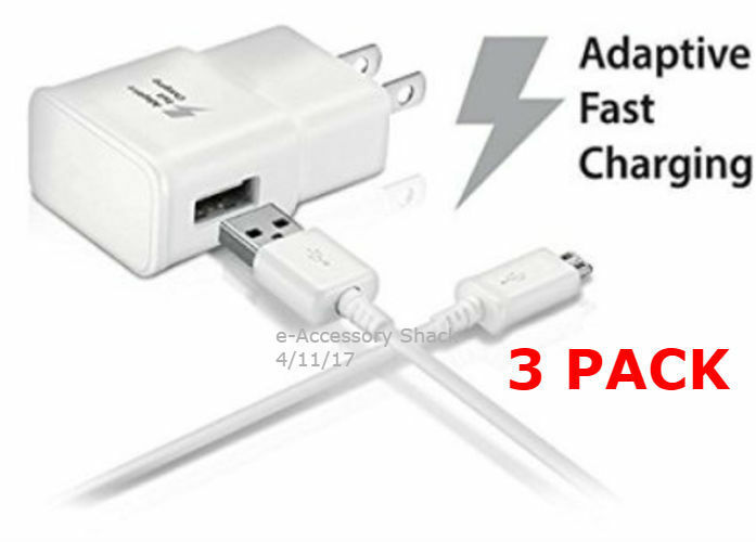 3x 10ft Type C Cables 3x Adaptive Fast Charge Wall