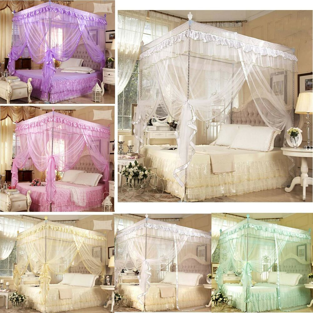 princess bed canopy mosquito netting or bed frame post twin full queen king ebay. Black Bedroom Furniture Sets. Home Design Ideas