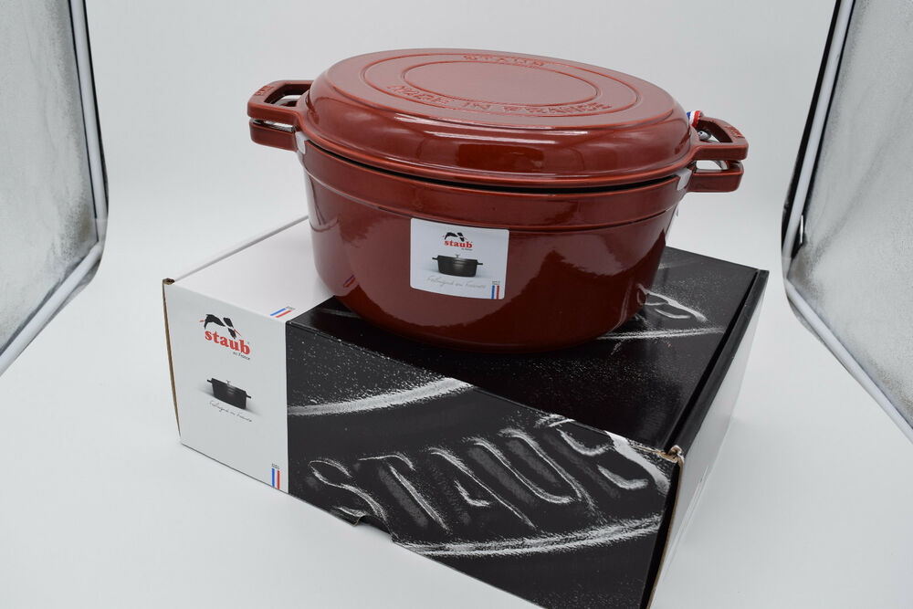 STAUB CAST IRON COCOTTE RED 7QT GRILL & BRAISE DUTCH OVEN PAN NIB $543 | eBay
