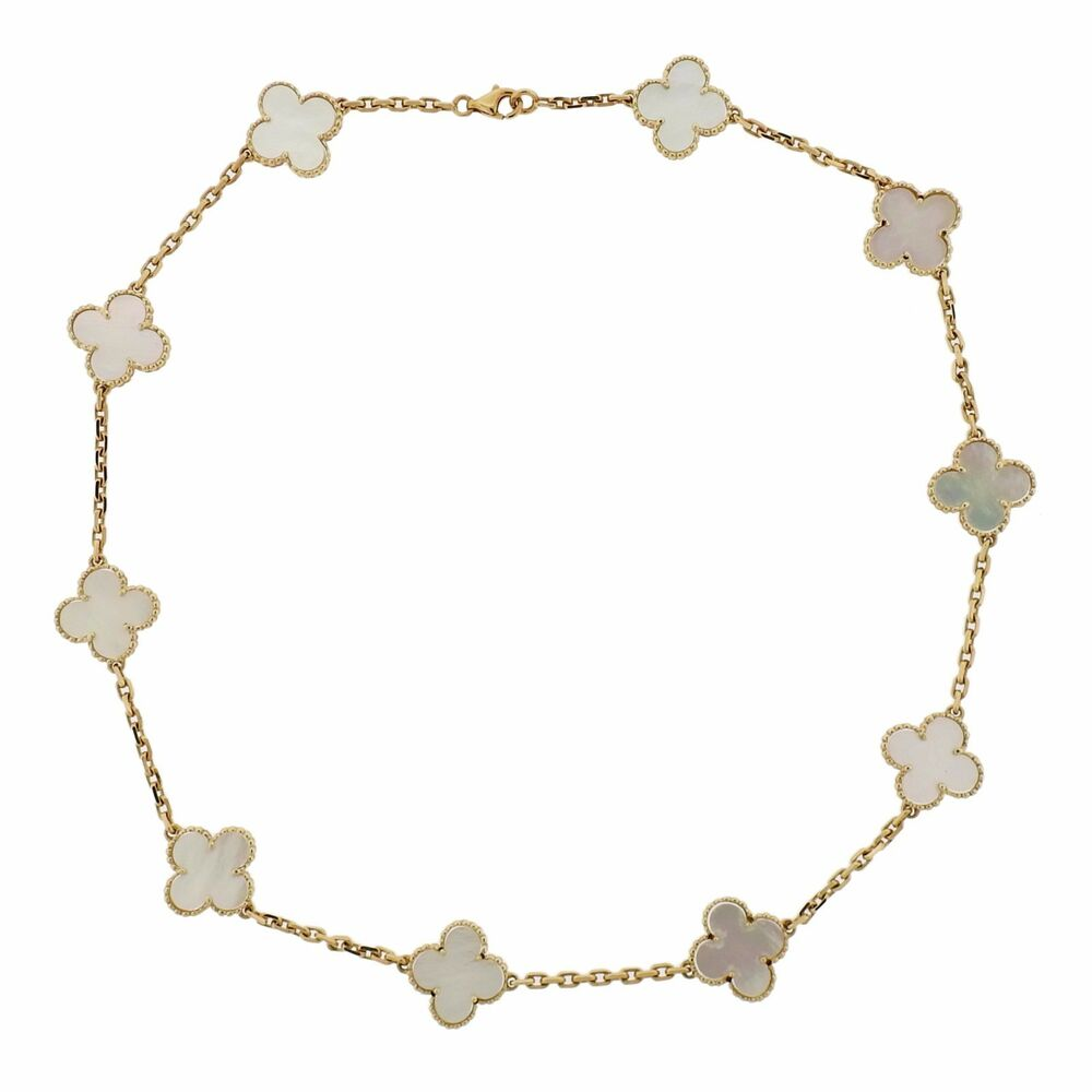 Van Cleef And Arpels Mother Of Pearl Necklace: Van Cleef & Arpels Vintage Alhambra Mother Of Pearl 10