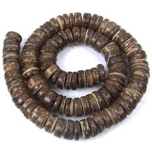 10mm Natural Coconut Heishi Rondelle Beads 15