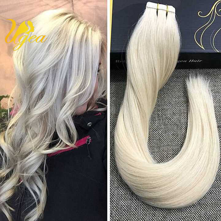 Brazilian Solid Color Platinum Blonde Tape In Remy Real