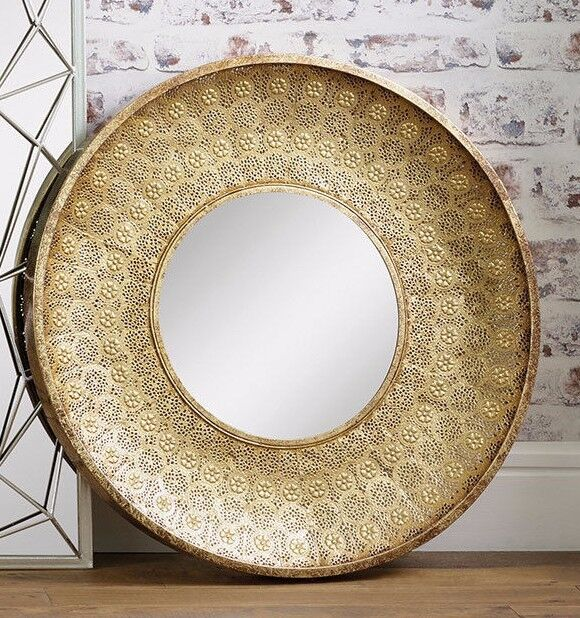 Large Gold Moroccan Style Wall Mirror 80cm Contemporary