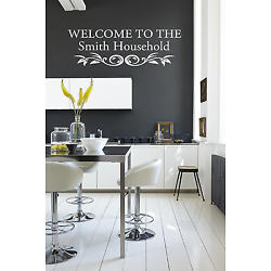 Personalised Surname welcome to our home..... Wall Quote Stickers Wall Decals!!!